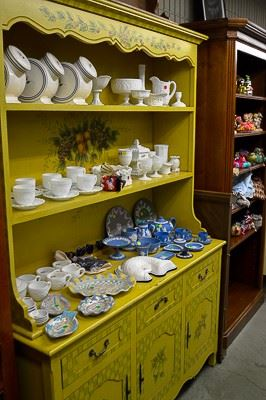 Antique Hutches and Milk Glass