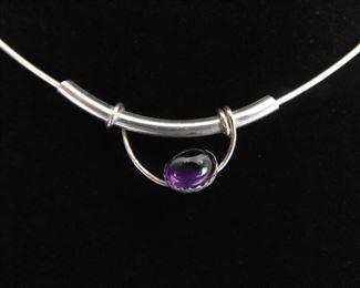 .925 Sterling Silver Amethyst Cabochon Slide Pendant Necklace