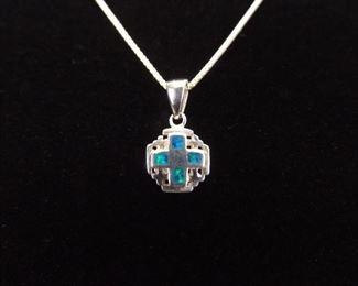 .925 Sterling Silver Opal Cross Pendant Necklace