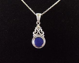 .925 Sterling Silver Art Nouveau Inlayed Blue Lapis Pendant Necklace