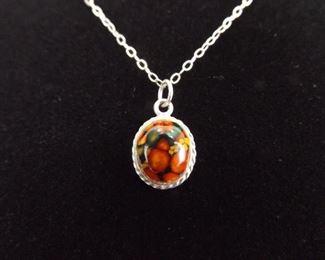 .925 Sterling Silver Brecciated Jasper Cabochon Pendant Necklace