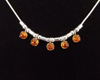 .925 Sterling Silver Amber Cabochon Necklace
