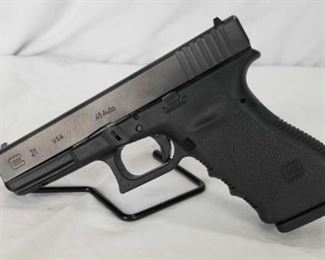 NEW Glock Gen # G 21 .45 Pistol Glock Brand-NEW.  Gen # G21 .45 Pistol, includes (2) Magazines- 13 round, 1 Magazine loader, 1 Hard Carrying Case, 1 Gun cleaning brush. Firearms may be shipped to other FFL dealers for a small fee.