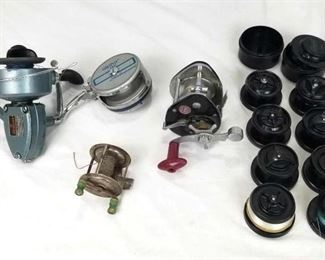 """Vintage Fishing Reels and Lines Daiwa 944 Reel, Alpha 2827 Shakespeare Reel, Immec 22-p Reel and Vintage """"Old School"""" Reel and multiple lines with and without line"""