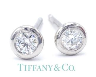 Tiffany & Co Elsa Peretti Diamonds by the Yard ~.40 CT Earrings in Platinum