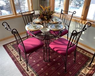 Dinette set shown with burgundy seat covers