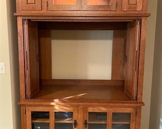 """Custom Montana Furniture Industries Mission style stacking three-piece entertainment unit.  This piece can accommodate a 43""""flatscreen tv with a lit upper display space.  53 1/4""""W x 85 1/2""""T x 27""""D"""