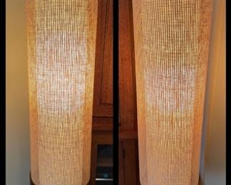 Pair of vintage walnut base woven shade lamps