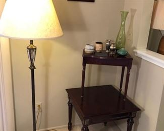 Bombay tables and bronze and glass floor lamp.