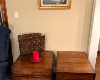 Mid Century American of Martinsville end tables, and woven magazine basket.