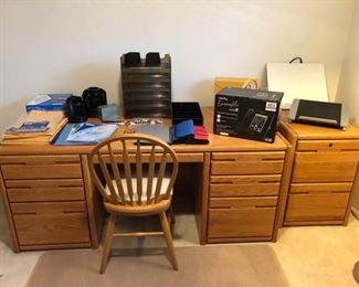 Oak desk and file cabinet.