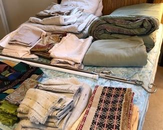 Vintage and newer linens.