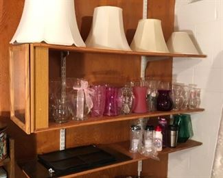 Various vases and lampshades.