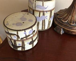 Mid Century William Cruets lidded pottery boxes.