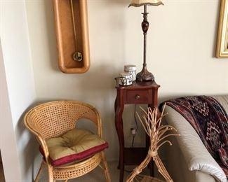 Howard Miller Arthur Umanoff pendulum clock,  cute wicker chair and a great basket!