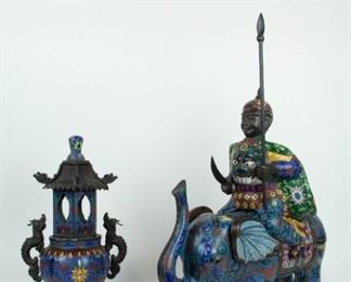 A Chinese Cloisonne Warrior and Elephant Together