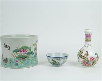 A Grouping of Chinese Famille Rose Porcelain