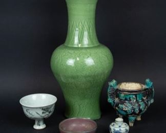 A Large Incised Celadon Phoenix Tail Vase tgth