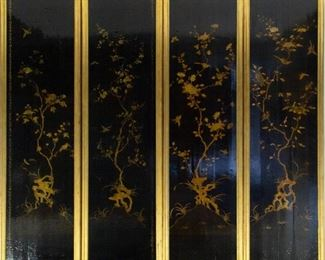 A Large Four Panel Chinoiserie Lacquered Screen