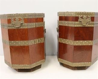 A Pair Of Brass Mounted Lidded Containers