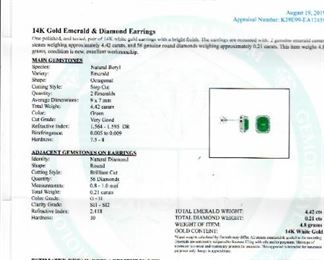 PAIR OF 14K EMERALD AND DIAMOND EARRINGS RESERVE MINIMUM BID $1,250.00. ESTIMATED RETAIL REPLACEMENT VALUE: $11,980.00