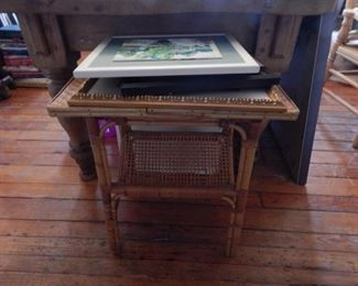 Bamboo accent table, water color art work.