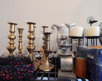 Lots of table top items... brass candle sticks!