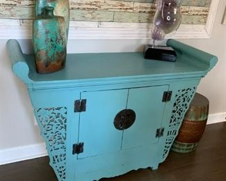 #1 Antique Turquoise painted cabinet with 2 doors 50x20x37  $ 325.00