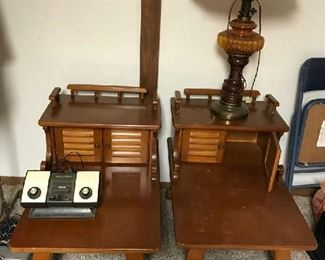 Maple End Tables, Lamp & Vintage Atari Game