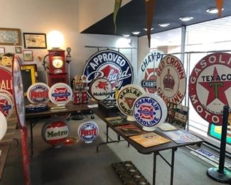 Packard, Texaco, Conoco, Esso, Bowswer, White Rose, Metro, Champlin, Mobil, Phillips, Kendall, Marland, Red Crown, Enarco, Knox, Eason, and scads of other rare petroleum and automotive memorabilia -- a wonderful, world class collection of petroliana!