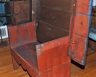 PAINTED  ANTIQUE FARMHOUSE PINE HUTCH TABLE BENCH SEAT