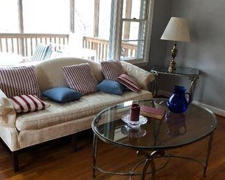 Sofa and glass top/metal coffee/side table