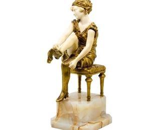 Antique Gilt Bronze Sculpture by Affortunato Gori