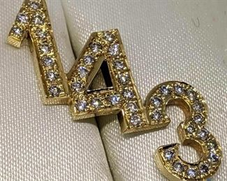 1-4-3 14k Gold Diamond Pendant