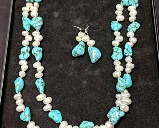 Turquoise and Freshwater Pearl Necklace and Earrings