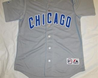 $25 Cubs grey Jersey   Chicago Cubs Jersey Men's Gray Road Away Jersey Size Large MLB Majestic Brand