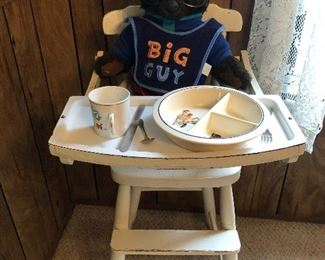 Antique high chair & baby dishes