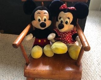 Mickie & Minnie Mouse in vintage child's rocker