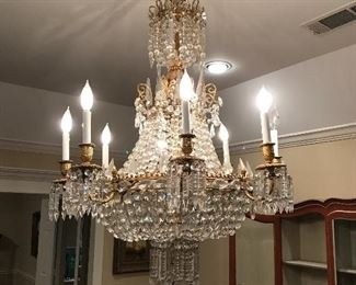 (8) arm Baccarat crystal chandelier from the Fisk estate one New York's most distinguished collection