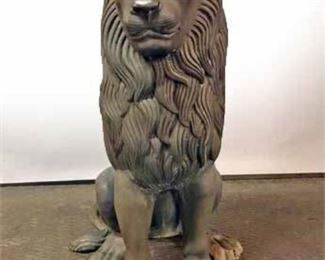 Outdoor Bronze Estate Entrance Guardian Lion.
