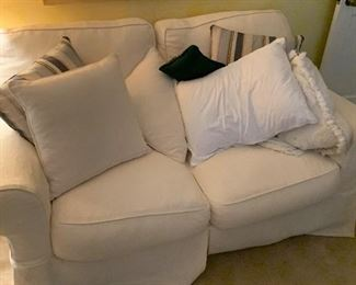 CLEAN pet / smoke free white living room love seat.