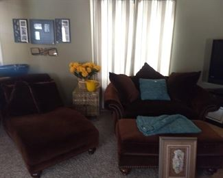 Oversized chair and ottoman, chaise lounge, side table, home decor, large planter bowl w/stand, TV, throw pillows, and more.