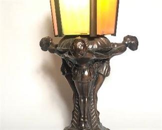 Vintage Slag Glass Art Deco Lamp
