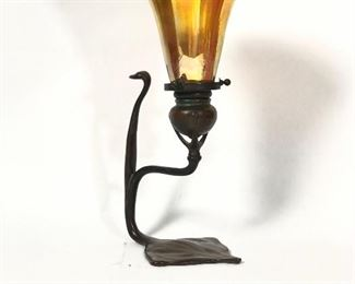 Antique Tiffany Cobra Candle Lamp w Signed LCT Favrile Glass Shade