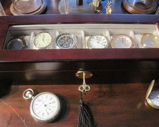 Dozens of Antique Pocket Watches with individual Glass Dust Domes. Wrist Watches.