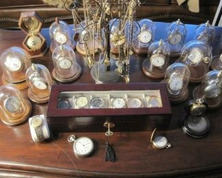 Dozens of Antique Railroad Pocket Watches with individual Glass Dust Domes. Wrist Watches.
