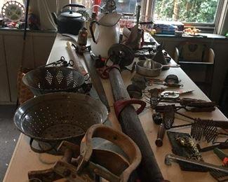 Large assortment of Vintage tools.  Locks, door knobs, kitchen utensils.