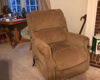 """Plush power recliner with """"stand me up"""" feature."""