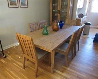 Dining Room Suit - Table w/6 padded chairs, Hutch, glassware, and more