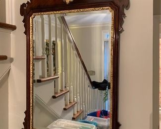 Chippendale style wood mirror with gold motif